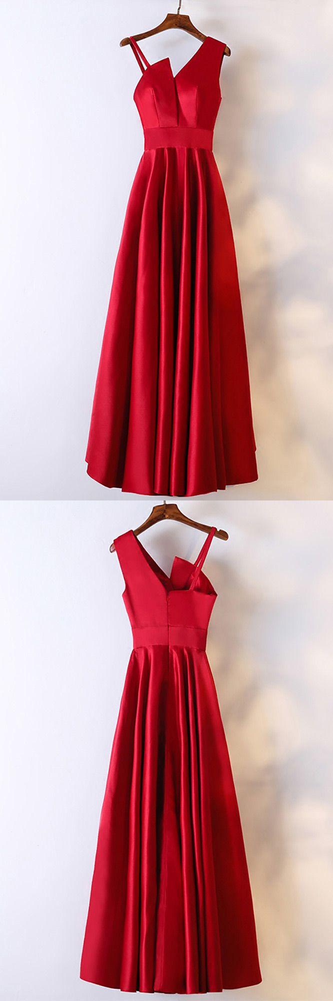 Edles Satin Burgund langes formelles Kleid mit asymmetrischer Schulter # MYX18154 – GemGrace.com