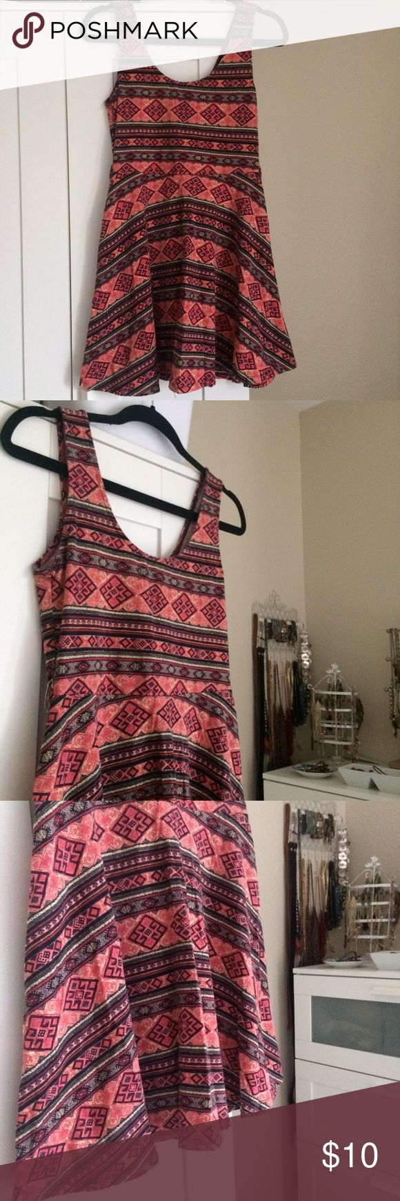forever 21 aztec boho festival print skater dress soft, stretchy, lightweight skater dress by forever 21 colorful aztec / southwest / boho print  lightly worn & washed a few times so fabric is very lightly faded, but still in very good used condition tagged size M & could fit S-L, depending on fit preference Forever 21 Dresses Mini