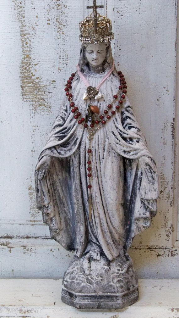 Virgin Mary chalk ware statue with crown white by AnitaSperoDesign, $170.00