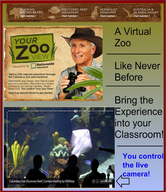 An interactive & live zoo exhibit from The Columbus Zoo - virtual animal cams lets you see the animals live and you control the camera.  How cool!  My students are going to LOVE this!!: Zoos Exhibitions, Columbus Zoos, Interactive Living, Awesome Living, Animal Cam, Living Animal, Animal Living, Teaching Blog, Living Zoos