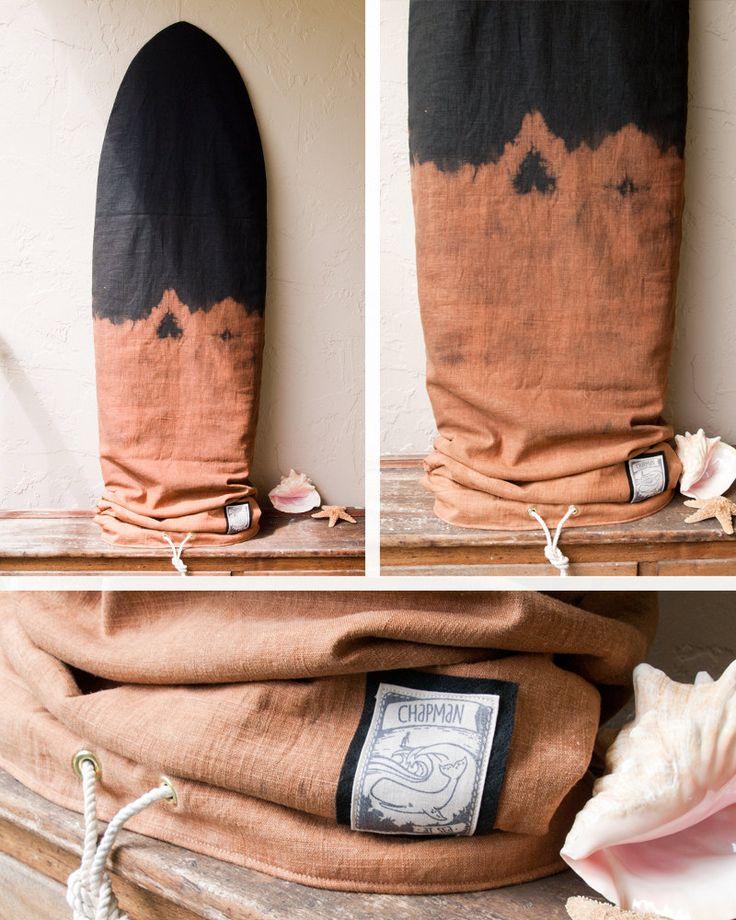 Black Linen Surfboard Cover Padded Surf Bag by theAtlanticOcean