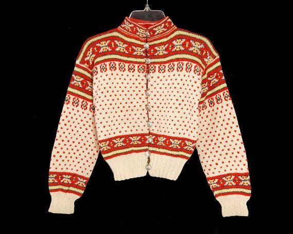 Vintage 60s Childs Girls Nordic Cardigan Sweater by Retroholic, $24.00