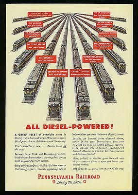 Trains Pennsylvania Railroad 1948 Antique Train Ad Locomotive Graphic – Paperink Graphics