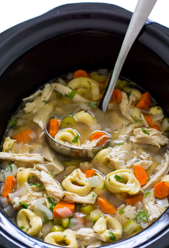 Super Easy Slow Cooker Chicken Tortellini Soup. Loaded with tons of veggies, shredded chicken and cheesy tortellini! Hi guys! It's Kelley back from Chef Savvy! Today I am sharing with you my Slow Cooker Chicken Tortellini Soup! This soup is loaded with veggies, shredded chicken and cheese tortellini. It's a fun and easy twist on the classic …