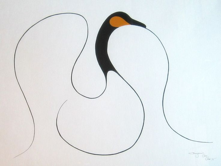 Untitled (Canada Goose), gouche and Indian ink on paper, Benjamin Chee Chee '75