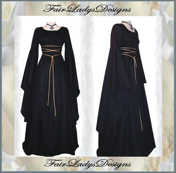 Sale - Medieval/Renaissance Black Trumpet Sleeve Costume Gown, Custom made to order.  Oh my gosh...I love this dress.  Love, love, love it.