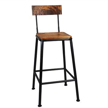 Hunston 65cm Metal Bar Chair with Timber Seat - Charcoal