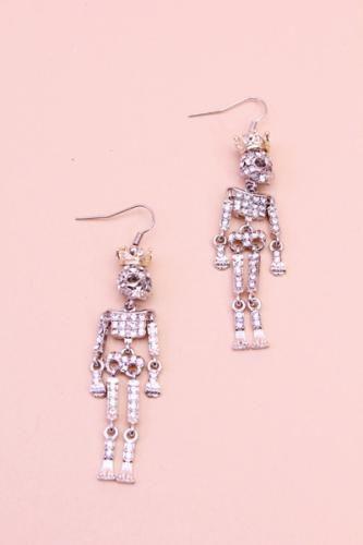 Silver Skeleton Royalty Earrings