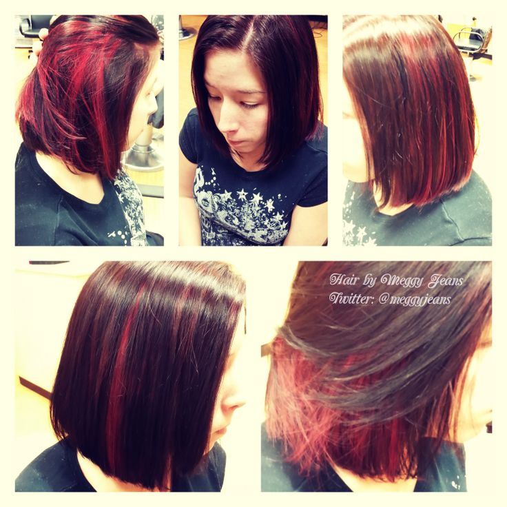 Brunette with red sliced peek-a-boos on a newly cut bob!   Instagram @meggyjeans_ #hairbymeggyjeans  #bob #colour #hair #transformation #new #love #red #brunette