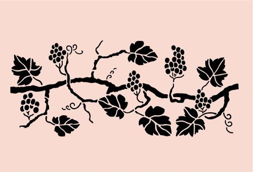 Grape Stencil Border Napa Grapes Branches Leaf Fruit Craft Template New 18 Quot X 8