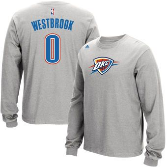 Men's Oklahoma City Thunder Russell Westbrook adidas Gray Name and Number Long Sleeve T-Shirt