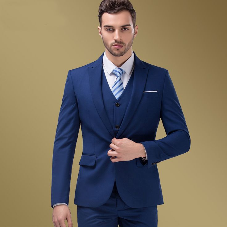 Trajes De Baño Azul Siete:Navy Blue Men's Suit Fashion