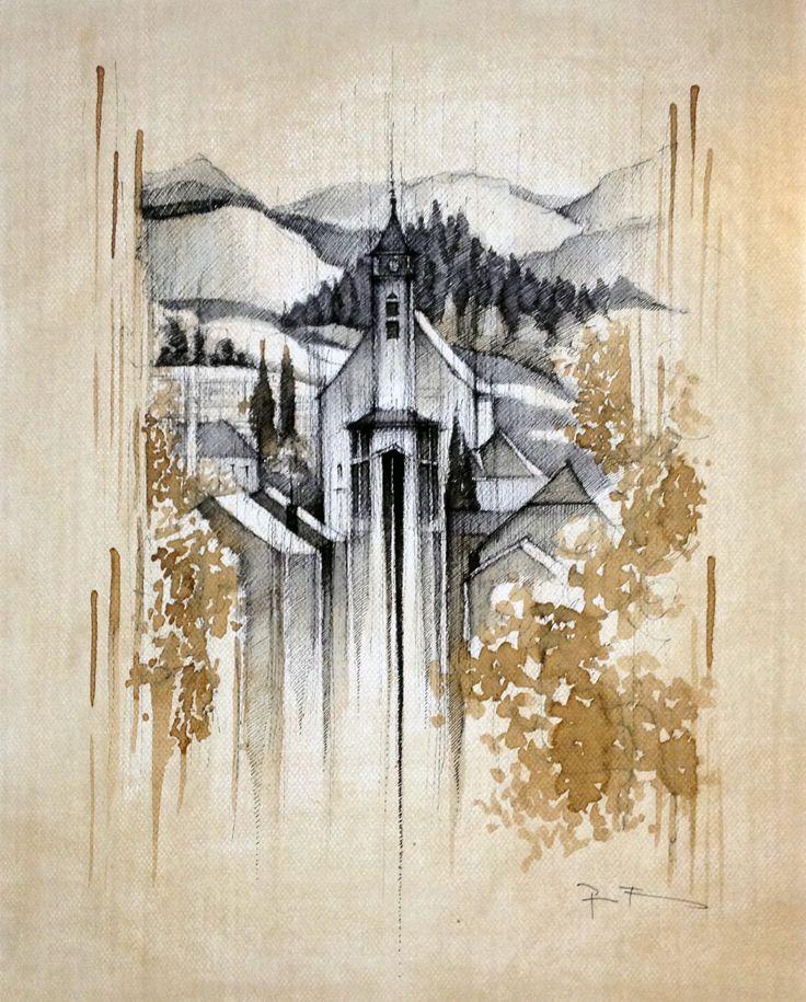VALAŠSKÁ POLANKA CHURCH,   Drawing on paper, , 40x50cm   © Pavel Filgas 2012   https://www.facebook.com/Pavel-Filgas-Art-500412180019911/ https://www.instagram.com/pavel_filgas_art/ https://twitter.com/PavelFilgas https://www.pavelfilgas.com, PAVEL FILGAS
