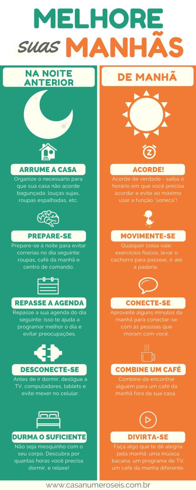 Infográfico - 10 maneiras fáceis para melhorar suas manhãs
