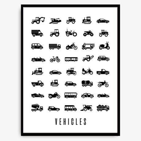 <p>Svartvit plansch med mönster av bilar, motorcyklar, ...</p>