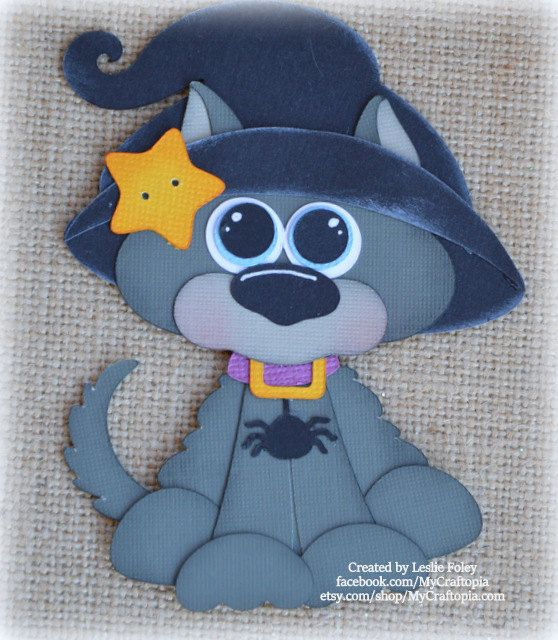 Black Cat Halloween Premade Scrapbooking Embellishment Paper