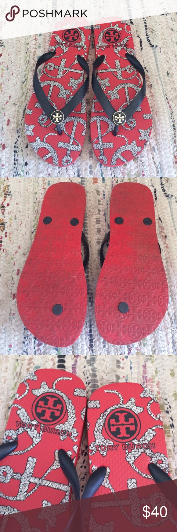 Tory Burch Nautical Rubber Flip Flops! Tory Burch Nautical Rubber Flip Flops! Tory Burch Shoes Sandals
