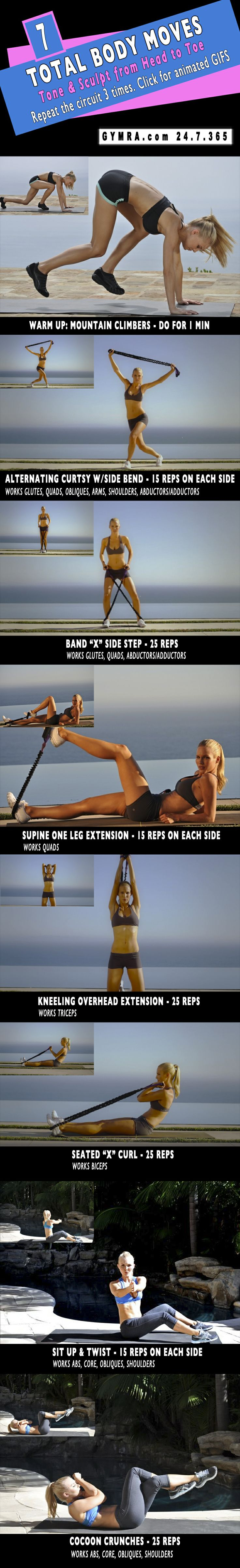 Full body workout using resistance band