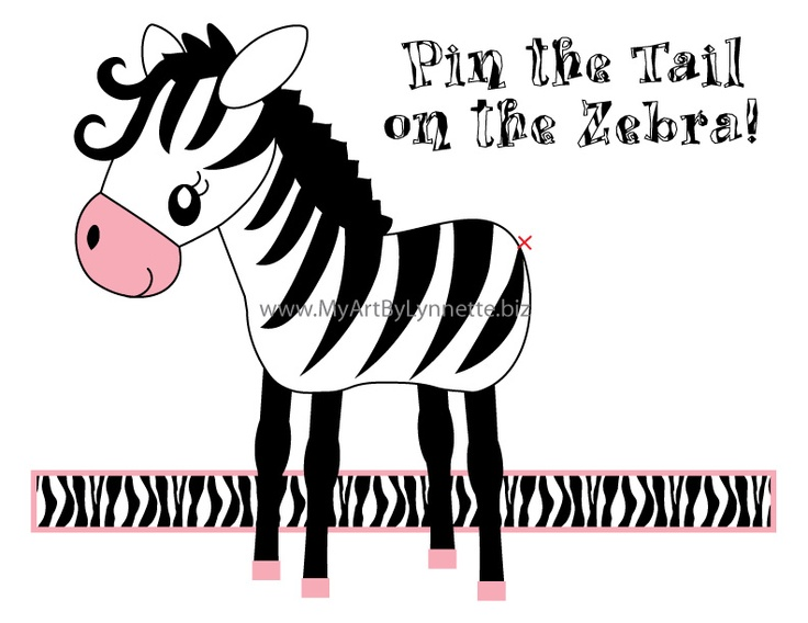 LynnetteArt: Zebra birthday party game- Pin the Tail on the Zebra