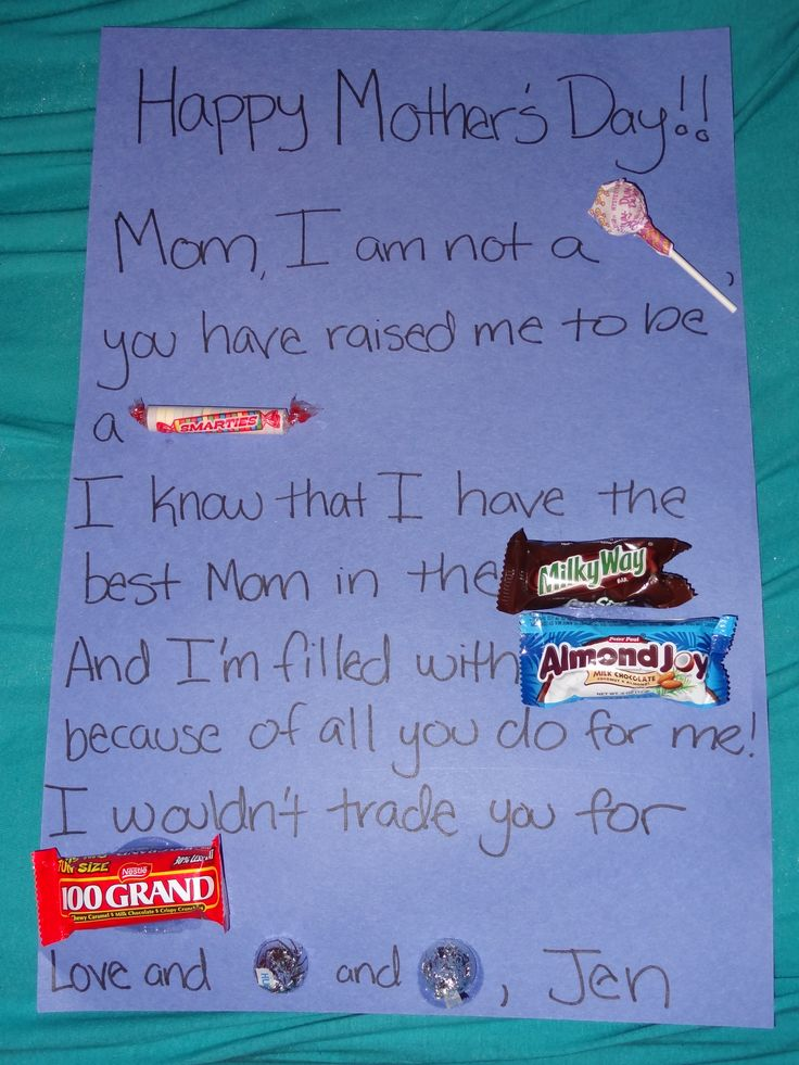 "Mother's Day candy bar poem that I made up for my class :)    I edited and the final draft will go something like this:  ""Happy Mother's Day!!!!    Mom, I'm not a [dum dum] because you have raised me to be a [smartie]     I know that I have the best mom in the [milky way] and I am filled with [almond joy] because of all you do for me!    I wouldn't trade you for [100 grand]    [Hugs] and [kisses]"""