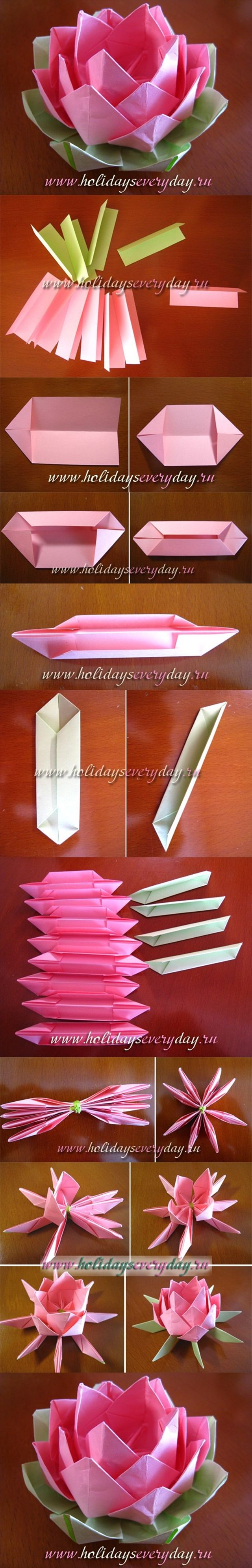 DIY Origami Paper Lotus Flower | www.FabArtDIY.com or Facebook ==> https://www.facebook.com/FabArtDIY
