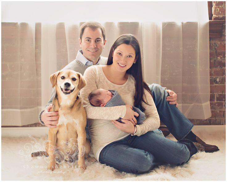 Newborn baby boy with family and dog photo inspiration www shawnashenette com millbury