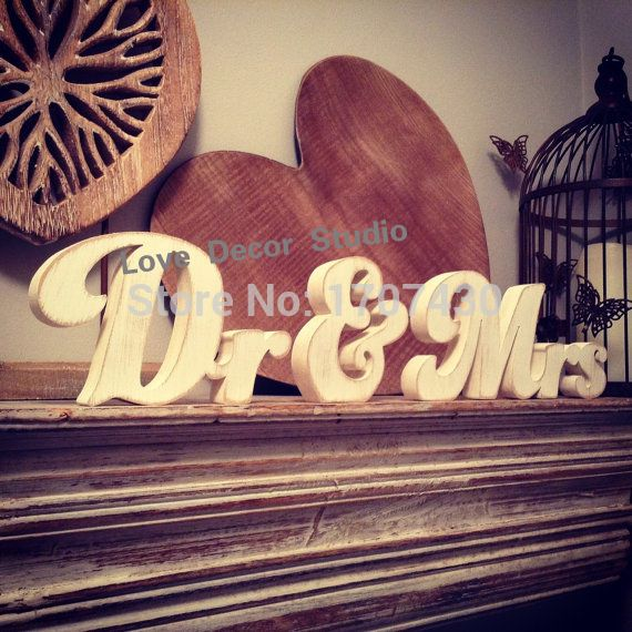 Wooden Wedding Letters - Dr & Mrs - New Funky Font, Hand-painted, Free-standing, 12cm