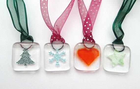 Christmas tree decorations handmade fused glass hanging