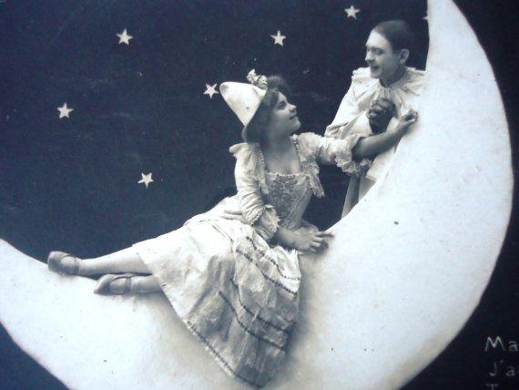 Antique paper moon postcard  Pierrot Colombine by LizKnijnenburg