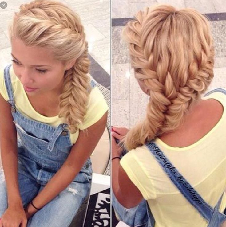 Super cool French braid on the side i need to learn how to do this