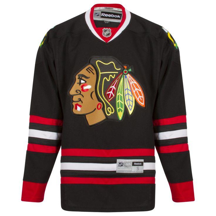 Chicago Blackhawks Men's Black Alternate Blank Alternate Premier Jersey by Reebok #Chicago #Blackhawks #ChicagoBlackhawks
