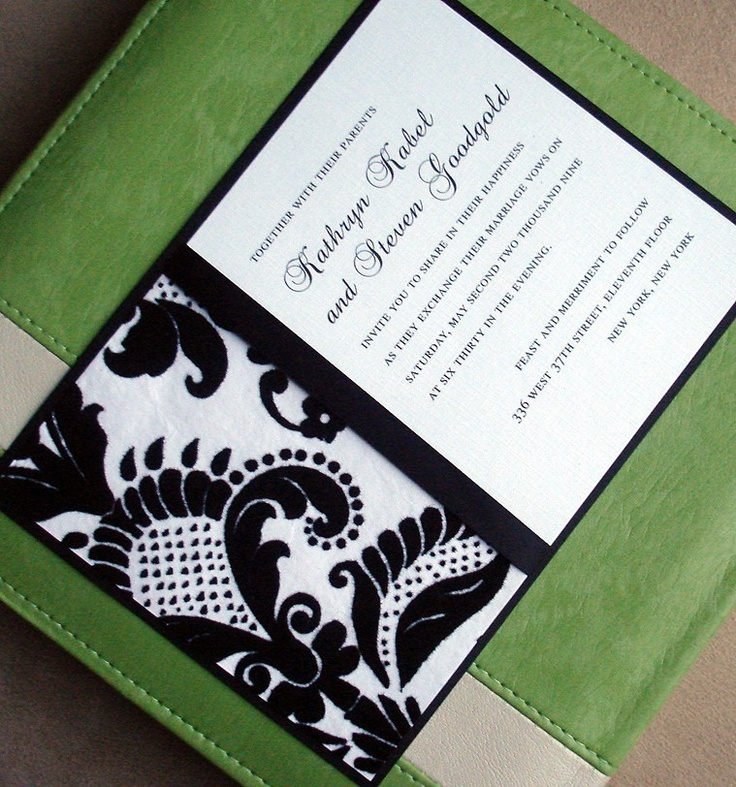 Wedding Invitations - Black White Flocked Textured Damask - Bridal, baby shower, sweet sixteen, bat mitzvah, communion christening