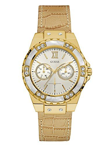 GUESS Womens U0775L2 Sporty GoldTone Stainless Steel Watch with Multifunction Di...