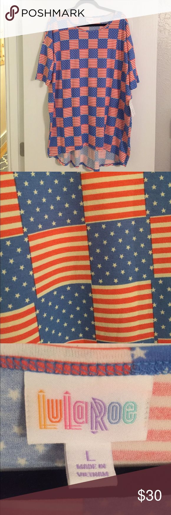 LulaRoe Irma Brand new, with tags LulaRoe Irma. From the Americana 2017 Collection. Red, white, and blue of course! Square flag pattern. Would look great for all of your patriotic festivities and for everyday wear! 'Merica! LuLaRoe Tops Tunics