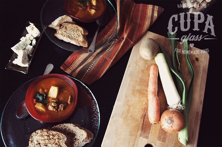 #Gulash #soup #presentation with handmade traditional plates and bowls by www.cupa.glass