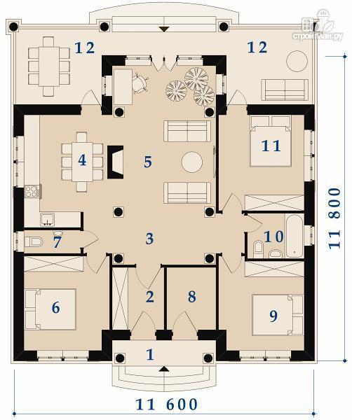 Фото 3: проект одноэтажный удобный дом с тремя спальнями и верандой