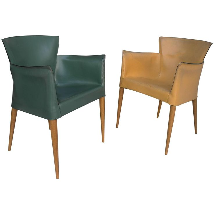 Pair of Sling Leather Yellow and Green Armchairs, Italy, 1970s