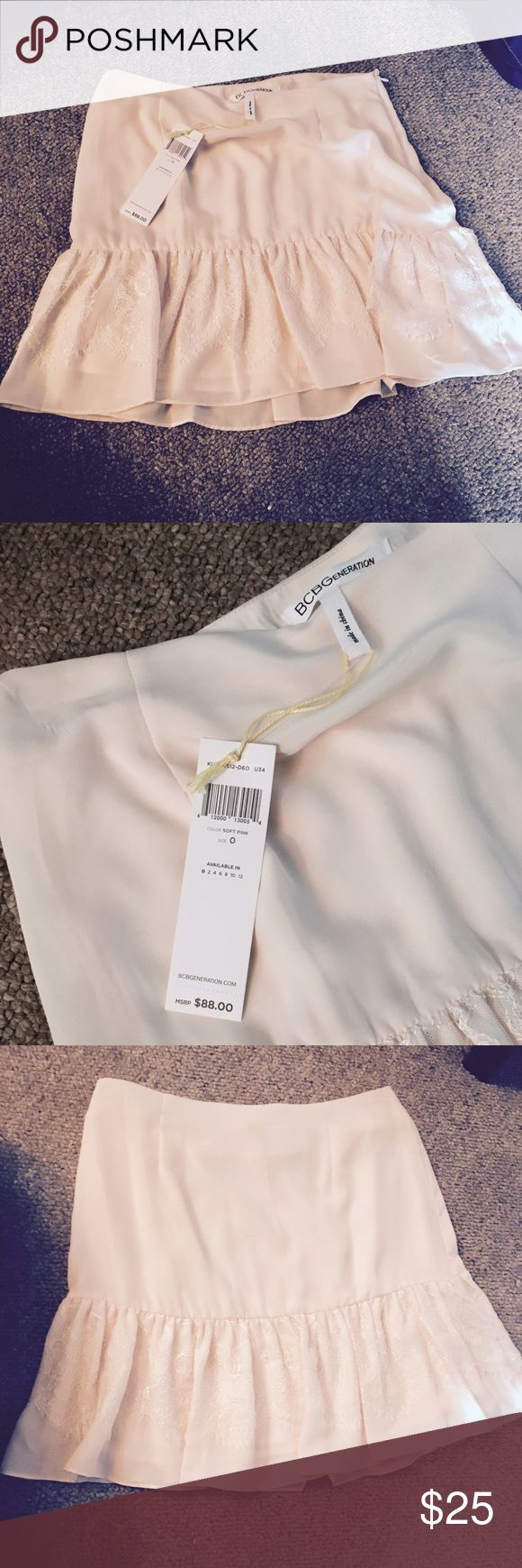 NWT Bcbgeneration blush skirt Brand new with tags never been worn. Really beautiful blush colored skirt with lace trim. It's a size 0. Runs true to size. It's about 15 inches long and hits mid to high waisted. BCBGeneration Skirts Mini