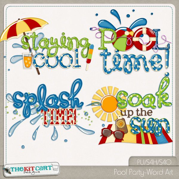 Pool Party Summer Themed Digital Scrapbook Word Art