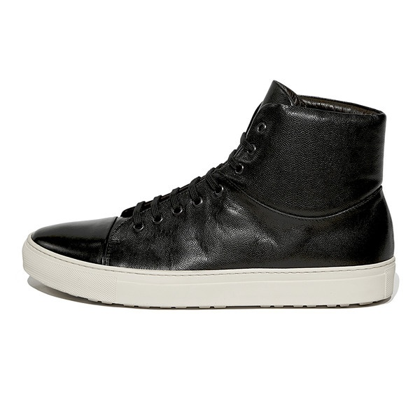 Oxygen - Men's Black High Top Sneakers with Scotch Grain Leather