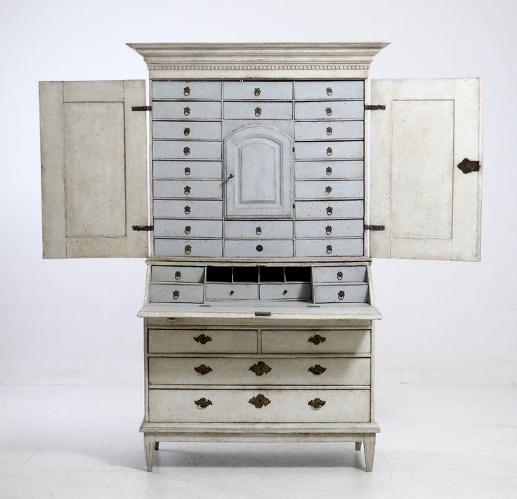 Swedish Antique Two Part Bureau Cabinet 1770s
