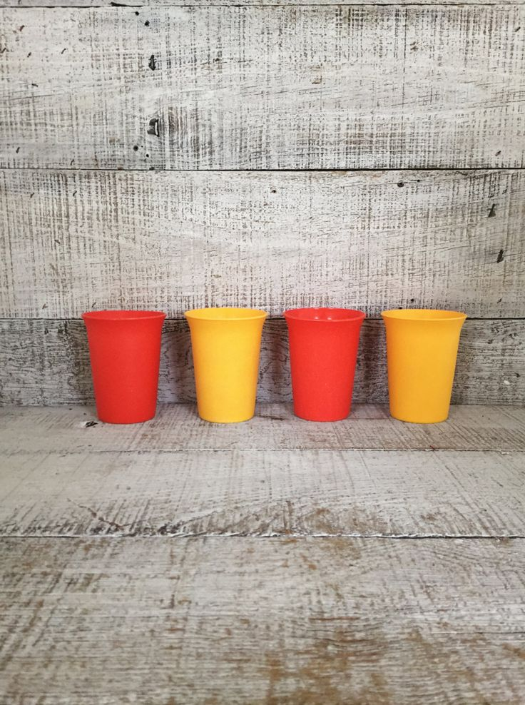 Tupperware Cups Set of 4  Vintage Yellow and Orange Juice Glasses Retro Tupperware Cups Mid Century Cups Vintage Plastic Glasses by TheDustyOldShack on Etsy