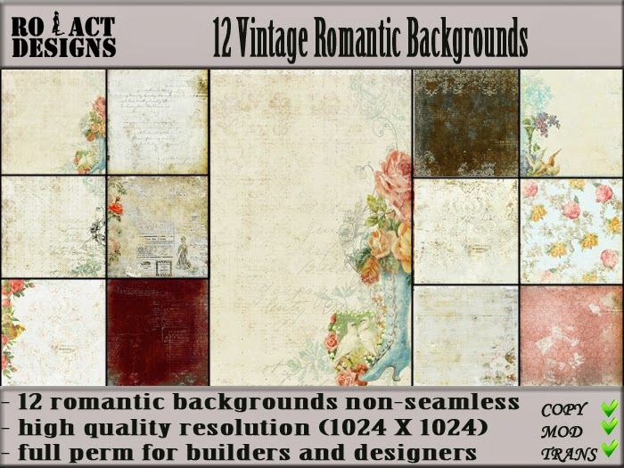 Ro!Act Designs 12 Vintage Romantic Backgrounds