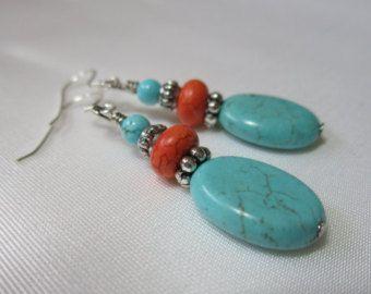 Turquoise Howlite Earrings, Handmade Beaded Earrings, Orange, Sterling Silver Ear Wire, Handmade Beaded Jewelry