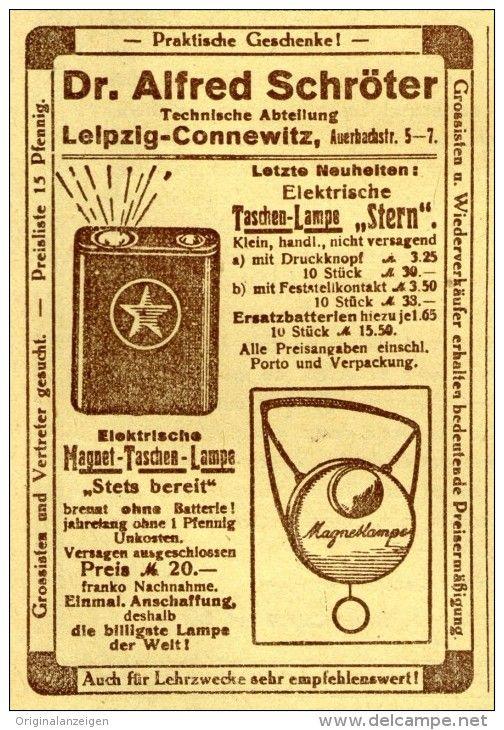 Original-Werbung/Inserat/ Anzeige 1919 - DR.ALFRED SCHRÖTER´S TASCHEN-LAMPE STERN - ca. 100 x 70 mm
