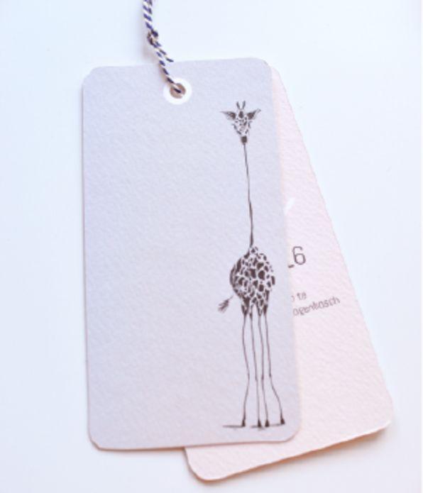 Label geboortekaartje groot giraf - LT voor