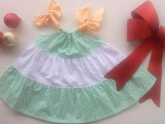 Baby girl dress green and white cotton lace children's
