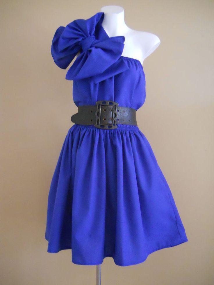 VINTAGE HARAH DESIGNS COTTON BL BLUE  COCKTAIL KNEE LENGTH ONE SHOULDER DRESS