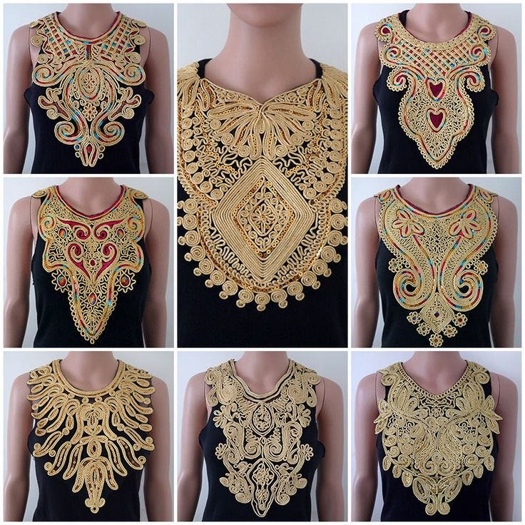 1pc Craft Gold collar Venise Sequin Floral Embroidered Applique Trim Decorated Lace Neckline Collar Sewing Free Shipping-in Lace from Home & Garden on Aliexpress.com | Alibaba Group