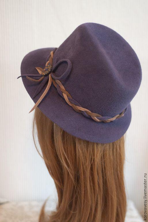 """Купить """"Мармелад с корицей"""" - сиреневый, шляпа, шляпа-федора, женская шляпа, классическая шляпа"""
